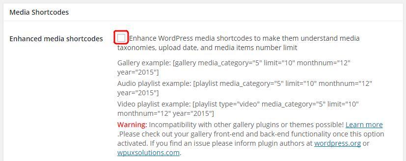 Enhanced Media Library でショートコードが使えるようにする